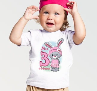 "Футболка ""Мне 3 годика"" зайка"