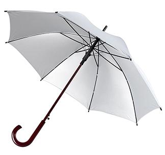 Зонт-трость с деревянной ручкой Серебристый арт 393.01