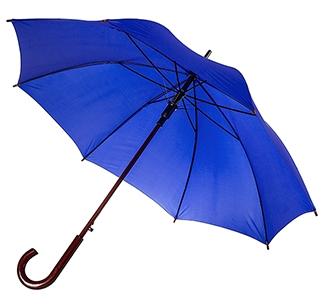 Зонт-трость с деревянной ручкой Синий арт 393