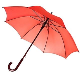 Зонт-трость с деревянной ручкой Красный арт 393