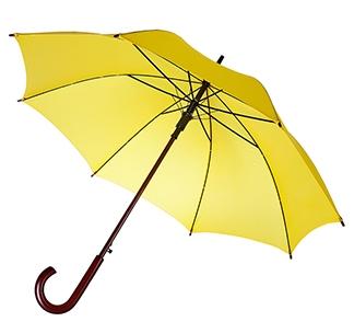 Зонт-трость с деревянной ручкой Желтый арт 393